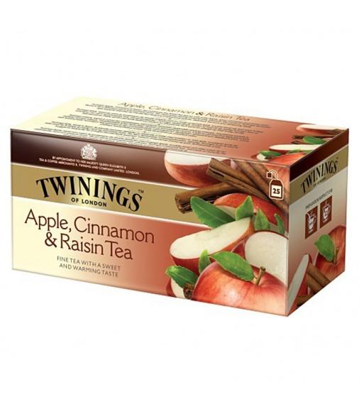 Черен чай TWININGS Apple, Raisin & Cinnamon 25 пакетчета
