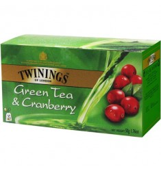 Зелен чай TWININGS Green & Cranberry  25 пакетчета